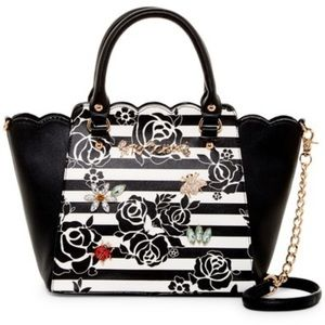 Betsey Johnson floral crystal encrusted jewel bag